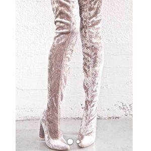 Silver crush velvet thigh high boots